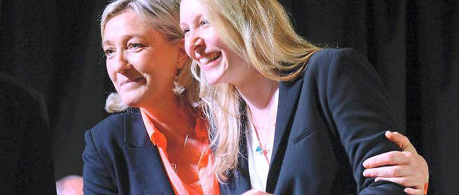 Marion Maréchal-Le Pen et Marine Le Pen lors d'un meeting du Front national, le 17 mars 2014.