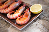 Restaurant dish of fresh shrimps and lemon, Mallorca, Spain ©RUSS ROHDE