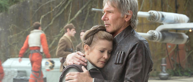 "Leia (Carrie Fisher) & Han Solo (Harrison Ford)  dans ""Le Reveil de la Force"""