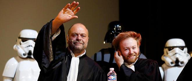 Les avocats de Dark Vador, Éric Dupond-Moretti et Antoine Vey, lundi soir au Grand Rex.