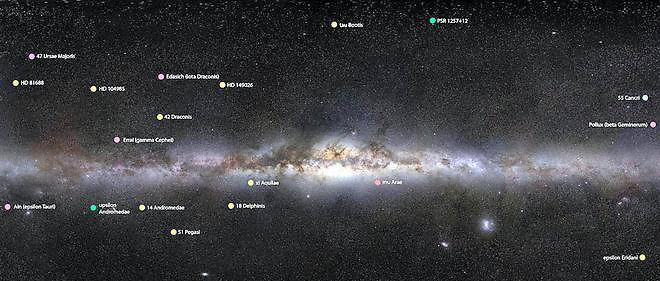 Sur ce cliché de la Voie lactée, on peut localiser chacune des étoiles  autour desquelles orbitent les exoplanètes que le concours NameExoWorlds a permis de rebaptiser.