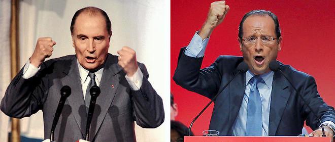 Les deux présidents de gauche de la Ve République, François Hollande et François Mitterrand.