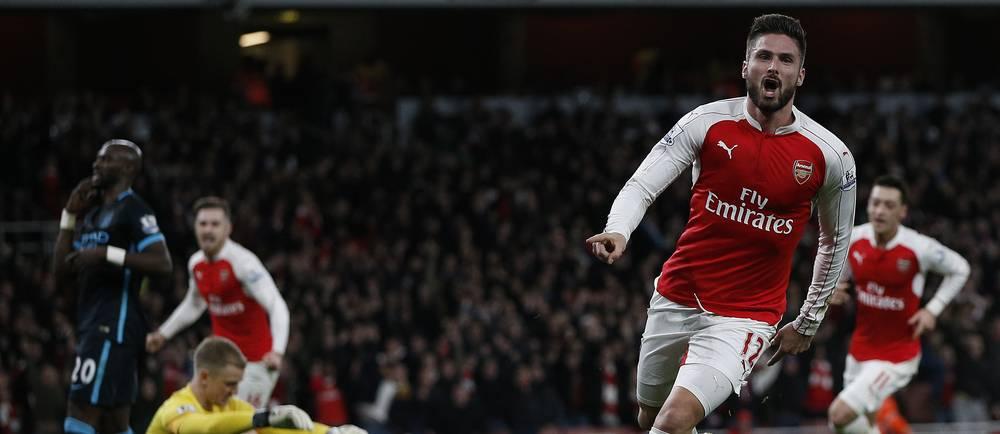 Olivier Giroud a marqué un but décisif lors de la victoire des Gunners face à City (2-1).