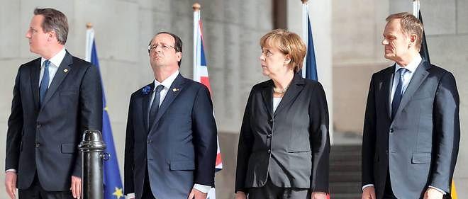 Le Premier ministre britannique James Cameron, le président français François Hollande, la chancelière allemande Angela Merkel et le président du Conseil européen Donald Tusk (photo d'illustration).