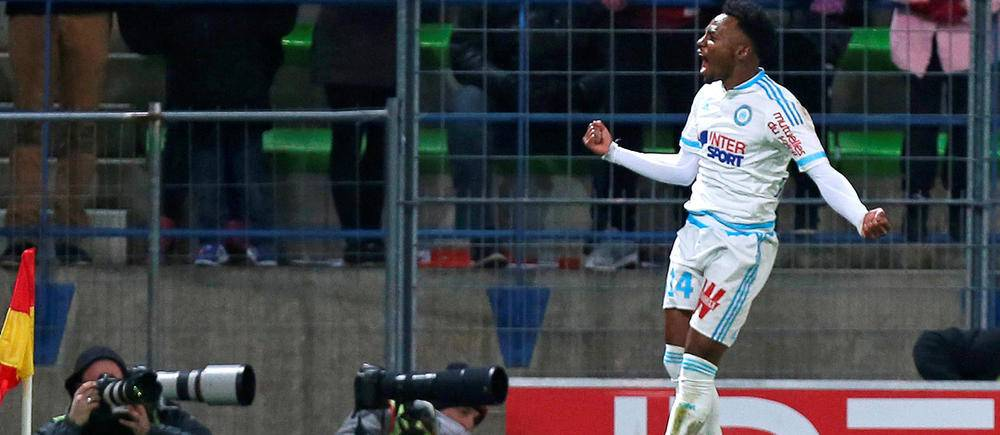 Georges-Kevin Nkoudou a inscrit le deuxième but marseillais à la 60e minute. (AFP/TRIBALLEAU).