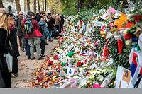 Des fleurs en hommage aux victimes des attentats terroristes du 13 novembre 2015 à Paris. Le maire de Chartres s'oppose à ce qu'un des kamikazes, Ismaël Mostefaï, soit enterré dans sa ville. ©CITIZENSIDE/DENIS PREZAT