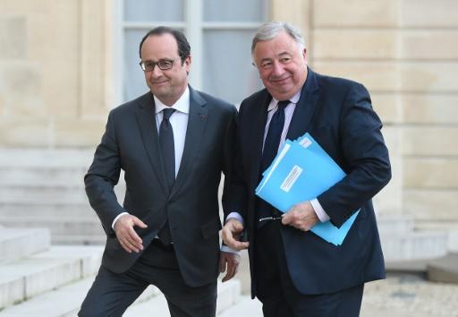 François Hollande et Gérard Larcher le 20 janvier 2016 à l'Elysée à Paris © STEPHANE DE SAKUTIN AFP