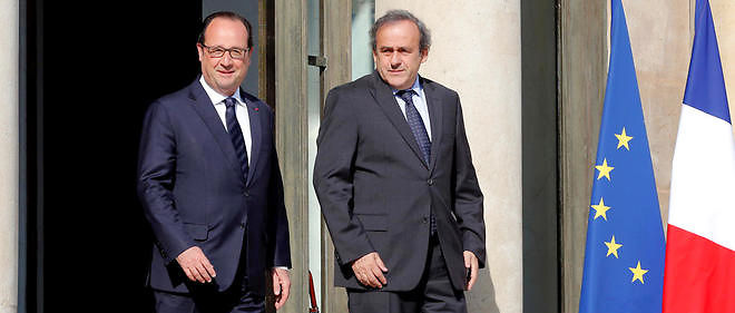 François Hollande et Michel Platini à l'Élysée le 10 juin 2015. Image d'illustration.
