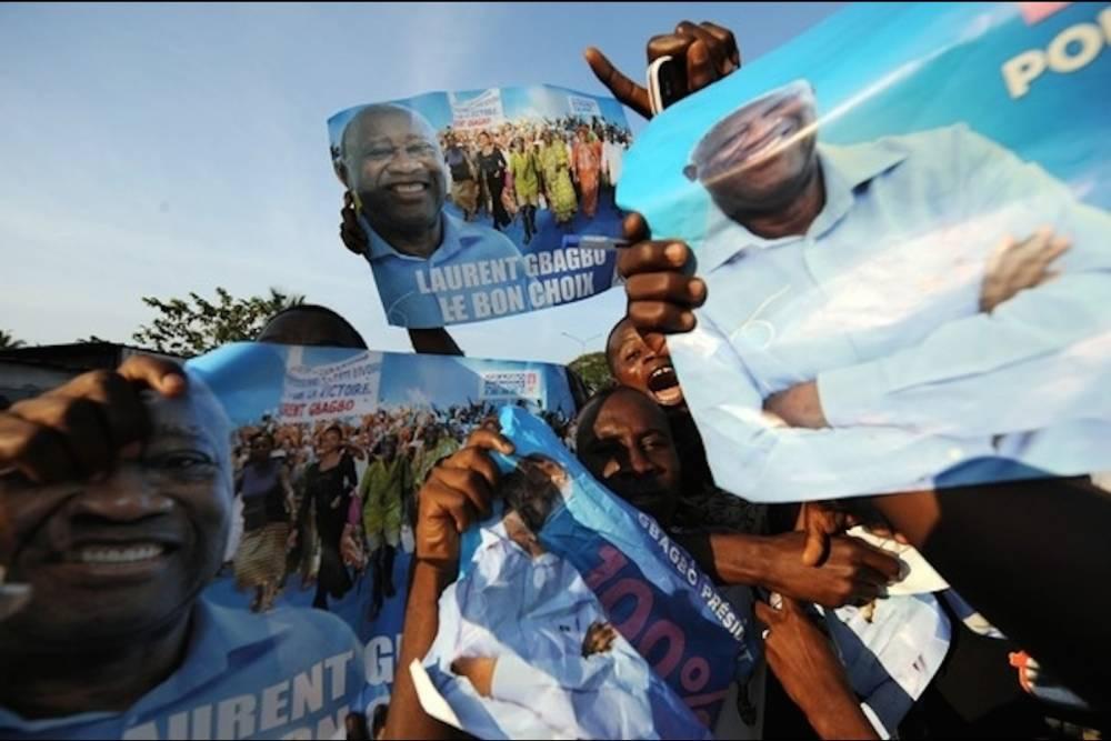 Manifestation de soutien des partisans de l'ex-président Laurent Gbagbo, en 2010. ©  DR