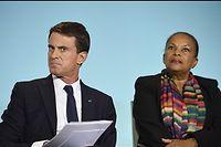 Le Premier ministre Manuel Valls et son ancienne garde des Sceaux Christiane Taubira en octobre dernier. ©ERIC FEFERBERG