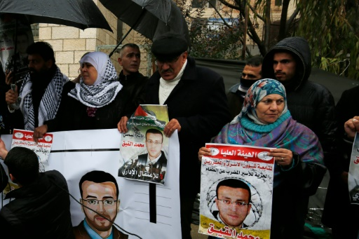 Un rassemblement à Ramallah pour Mohammed al-Qiq, journaliste en grève de la faim depuis 75 jours et en danger de mort toujours retenu par Israël, le 7 février 2016 © ABBAS MOMANI AFP