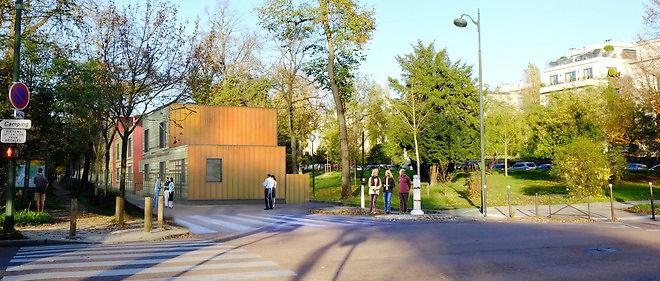 Le futur centre d'hébergement en lisière du bois de Boulogne. Image de synthèse fournie par le cabinet d'architectes en charge du projet.
