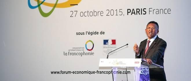 Le président malgache Hery Rajaonarimampianina pendant son intervention lors du 2e Forum économique de la Francophonie.