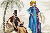 Médecin et marchand juifs. Jaune, bleu et rouge étaient les couleurs des dhimmî. Gravure de Rebel, d'après un dessin de Lalaisse (1860). ©Duvallon/Leemage