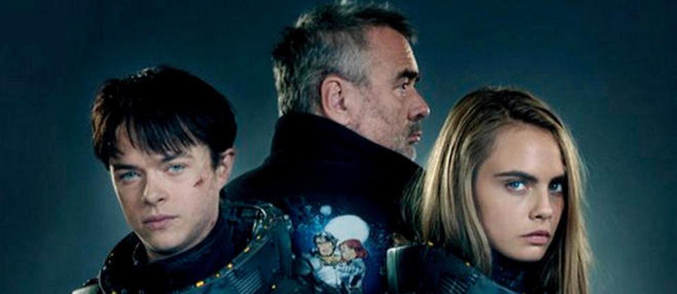 Luc Besson entouré de Cara Delevingne et Dane DeHaan.