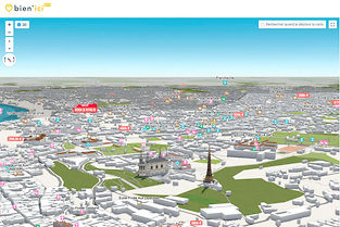 Immersion.Le site Bien'ici compile 1,1 million d'annonces consultables sur une carte interactive en 3D (ici, la ville de Lyon).