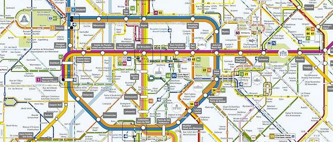 Plan du métro bruxellois, exploité par la Stib.