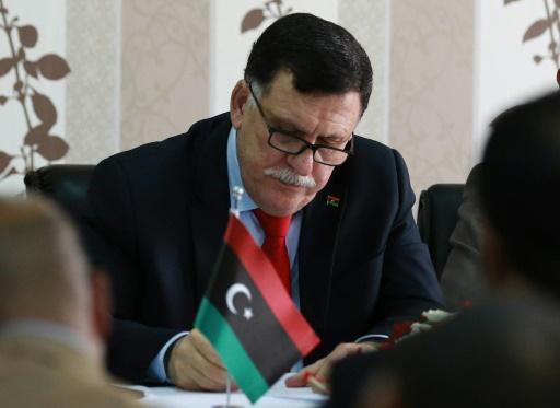 Fayez al-Sarraj, chef du gouvernement d'union nationale libyen, le 3 avril 2016 à Tripoli © MAHMUD TURKIA AFP