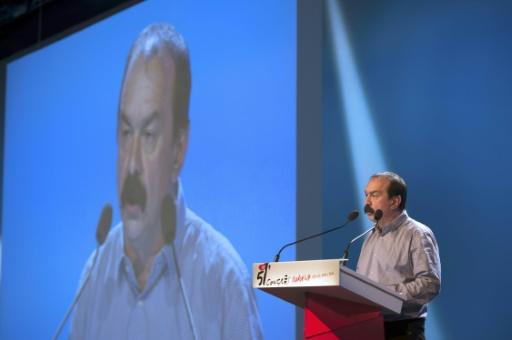 Le secrétaire général de la CGT, Philippe Marinez, lors du congrès de son syndicat à Marseille, le 18 avril 2016 © BERTRAND LANGLOIS AFP