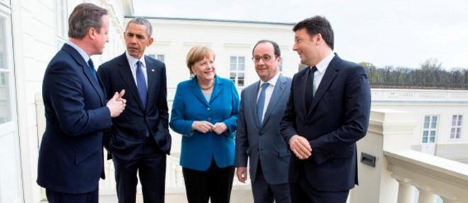 Barack Obama à Hanovre avec David Cameron, Angela Merkel, François Hollande et Matteo Renzi.