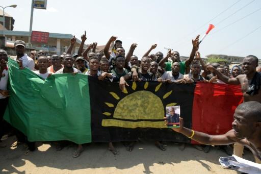 Manifestation à Aba, dans le sud-est du Nigeria pour la libération de l'activiste indépendatiste biafrais Nnamadi Kanu, le 18 novembre 2015 © PIUS UTOMI EKPEI AFP/Archives