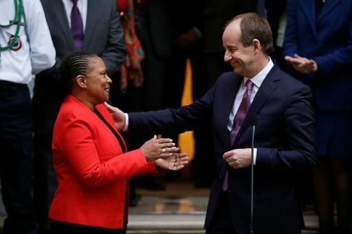 Passation de pouvoirs entre Christiane Taubira et Jean-Jacques Urvoas le 27 janvier 2016 au ministère de la Justice à Paris © KENZO TRIBOUILLARD AFP/Archives
