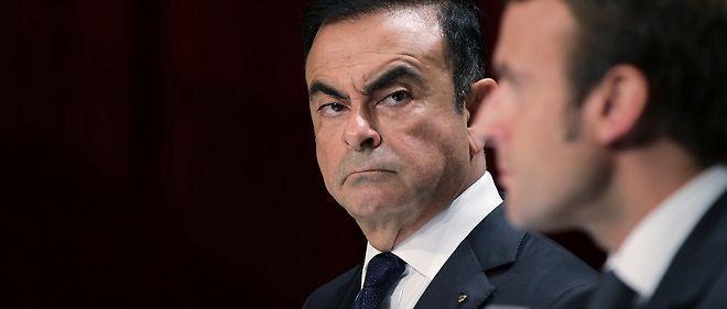 Carlos Ghosn (Renault-Nissan) et Emmanuel Macron, ministre de l'Économie.