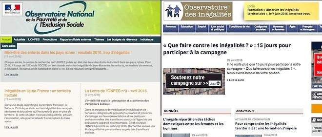 Les sites de l'Observatoire national de la pauvreté et de l'exclusion sociale (ONPES), public, et de l'Observatoire des inégalités, privé