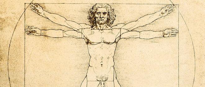 """""""Les proportions humaines"""" (1490), d'après Vitruve, par Léonard de Vinci (1452 - 1519). Plume, encre et aquarelle sur pointe d'argent. Galerie dell'Accademia, Venise."""