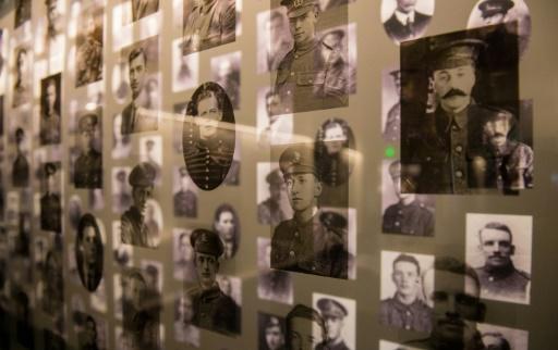 Photos de soldats de la Première Guerre mondiale exposées au nouveau musée de Thiepval, le 1er juin 2016 © DENIS CHARLET AFP