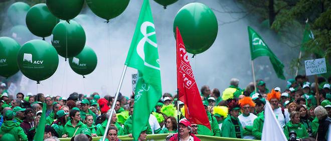 Manifestation à Bruxelles à l'appel des principaux syndicats du secteur des transports publics.