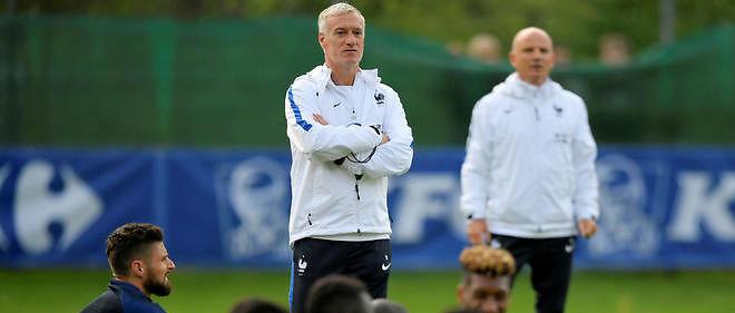 L'équipe de France à l'entraînement avec Didier Deschamps à Neustift en Autriche.