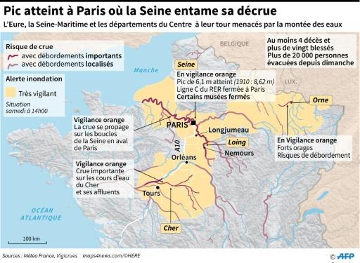 Pic atteint à Paris où la Seine entame sa décrue © Alain BOMMENEL, Laurence SAUBADU AFP