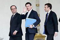Le président François Hollande, son Premier ministre Manuel Valls et le ministre de l'Économie Emmanuel Macron, réformateurs incompris. ©STEPHANE DE SAKUTIN