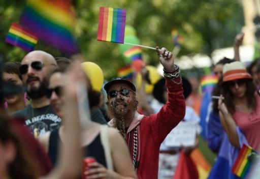 Des participants à une Gay Pride, le 25 juin 2016 à Bucarest  © DANIEL MIHAILESCU AFP