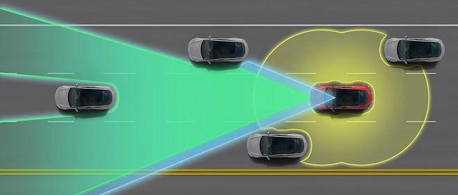 """Le système """"Autopilot"""" permet à la voiture de se débrouiller toute seule au milieu de la circulation sur autoroute, mais toujours sous la supervision du conducteur."""