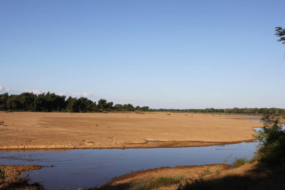 On peut apercevoir le Zimbabwe au Nord et le Mozambique à l'Est depuis la rive de la rivière Limpopo, presque complètement asséchée. ©  Lizza Fabian