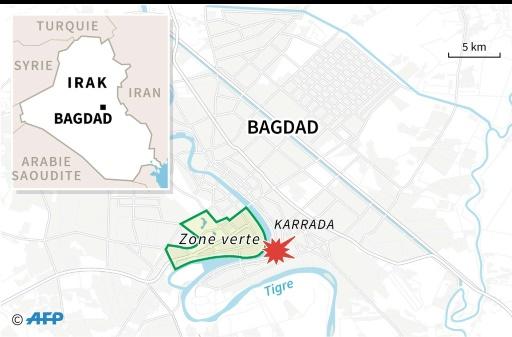 Carte du centre de Bagdad localisant l'attentat suicide qui a fait au moins 119 morts  © Sophie RAMIS AFP