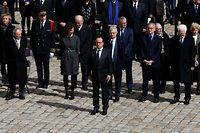 François Hollande a rendu hommage à Michel Rocard ce jeudi aux Invalides. ©PATRICK KOVARIK