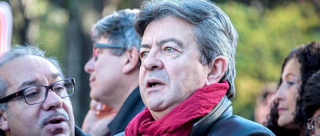 """Le candidat à la présidentielle 2017 Jean-Luc Mélenchon lance une campagne intitulée """"Je vote, ils dégagent""""."""