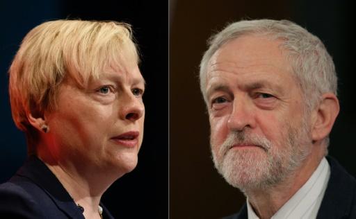 Combinaison de portraits d'Angela Eagle à Brighton, le 28 septembre 2015, et de Jeremy Corbyn le 2 juin 2016 à Londres © LEON NEAL, LEON NEAL, Daniel Leal-Olivas/AFP AFP/Archives