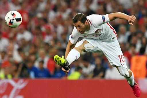 Le milieu de terrain polonais Grzegorz Krychowiak lors du quart de finale de l'Euro contre le Portugal, le 30 juin 2016 à Marseille © FRANCISCO LEONG AFP