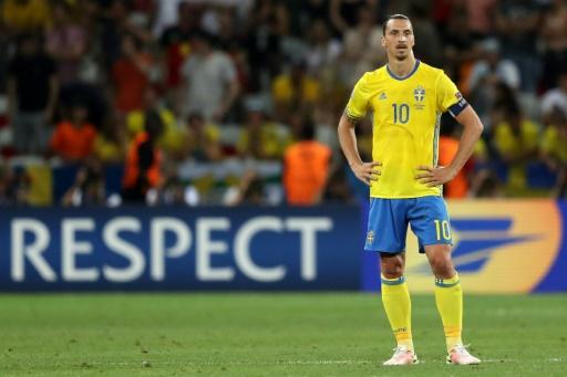 L'attaquant suédois Zlatan Ibrahimovic lors du match de l'Euro contre la Belgique, le 22 juin 2016 à Nice © Valery HACHE AFP/Archives
