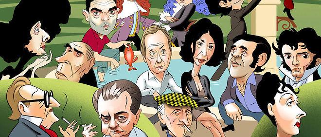 Au panthéon du mauvais esprit. De gauche à droite et de haut en bas : Sarah Bernhardt, François Mitterrand, Yann Moix, Fabrice Luchini, Yasmina Reza, Jean Yanne, Chamfort, Sacha Guitry, Philippe Muray, Michel Audiard, Arletty.