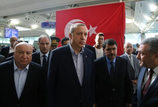 Photo fournie par l'agence de presse présidentielle montrant Recep Tayyip Erdogan à Istanbul, le 2 juillet 2016 © MURAT CETIN MUHURDAR TURKISH PRESIDENTIAL PRESS OFFICE/AFP