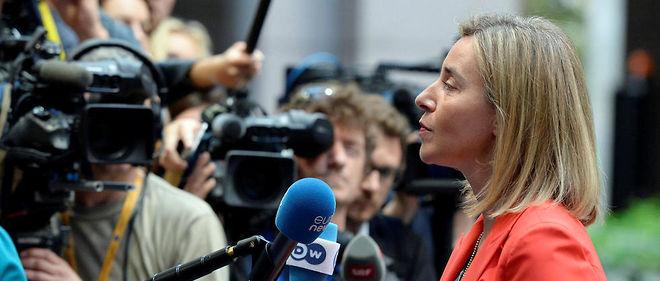 Federica Mogherini, la chef de la diplomatie européenne, participait à une réuniondes ministres des Affaires étrangères de l'UE à Bruxelles.