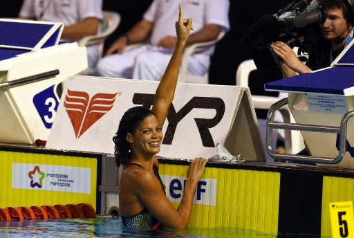 La nageuse française Coralie Balmy lors des championnats de France de natation à Montpellier le 30 mars 2016 © PASCAL GUYOT AFP/Archives