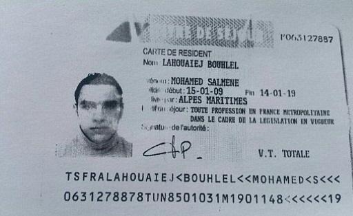 La carte de résident de Mohamed Lahouaiej Bouhlel, obtenue auprès de la police le 15 juillet 2016 © - FRENCH POLICE SOURCE/AFP/Archives