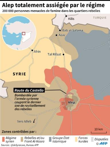 Alep totalement assiégée par le régime © François D'ASTIER, Omar KAMAL, Laurence SAUBADU AFP