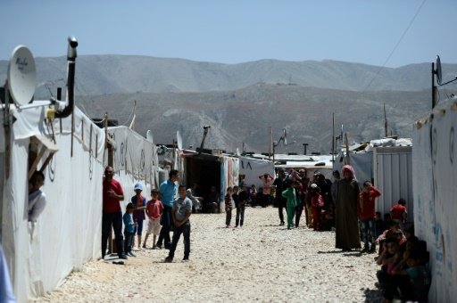 Des réfugiés syriens dans le camp informel de Dalhamiyeh, près de la ville de Zahle, dans le sud du Liban le 17 avril 2016 © STEPHANE DE SAKUTIN AFP/Archives
